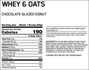 OPTIMUM NUTRITION WHEY OATS CHOCOLATE GLAZED DONUT