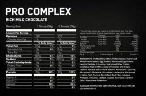 Pro Complex Bodybuilding supplement_facts